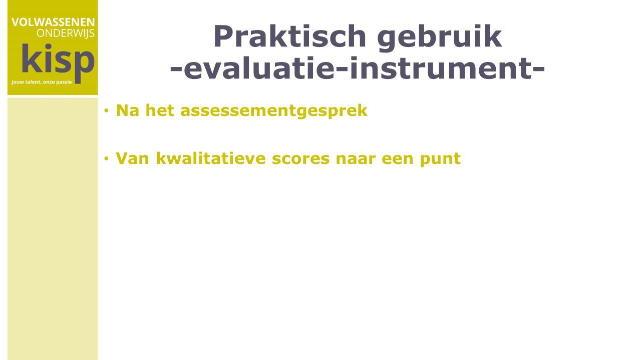Praktisch gebruik -evaluatie-instrument-