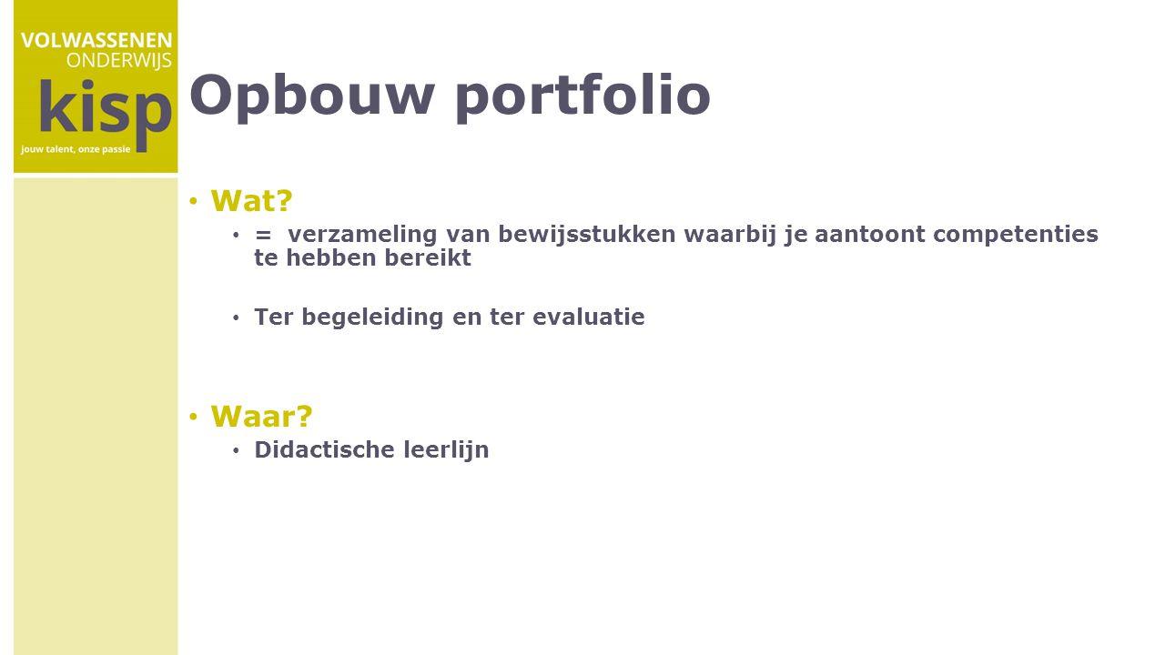 Opbouw portfolio Wat Waar