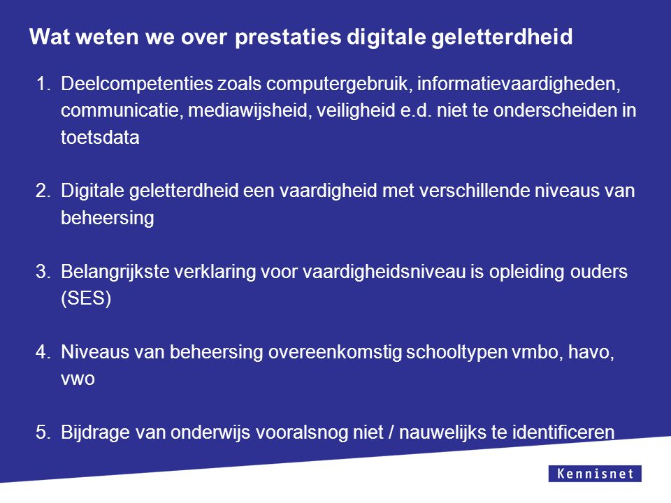 Wat weten we over prestaties digitale geletterdheid