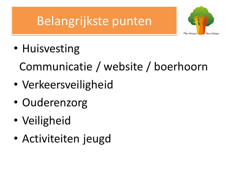 Belangrijkste punten Huisvesting Communicatie / website / boerhoorn