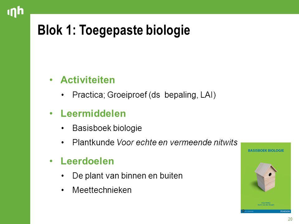 Blok 1: Toegepaste biologie