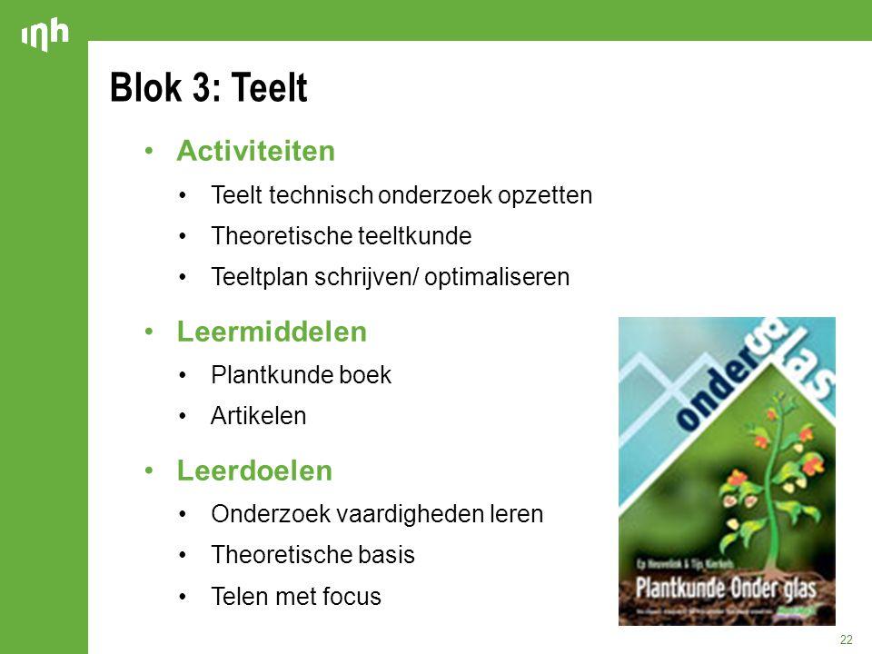 Blok 3: Teelt Activiteiten Leermiddelen Leerdoelen