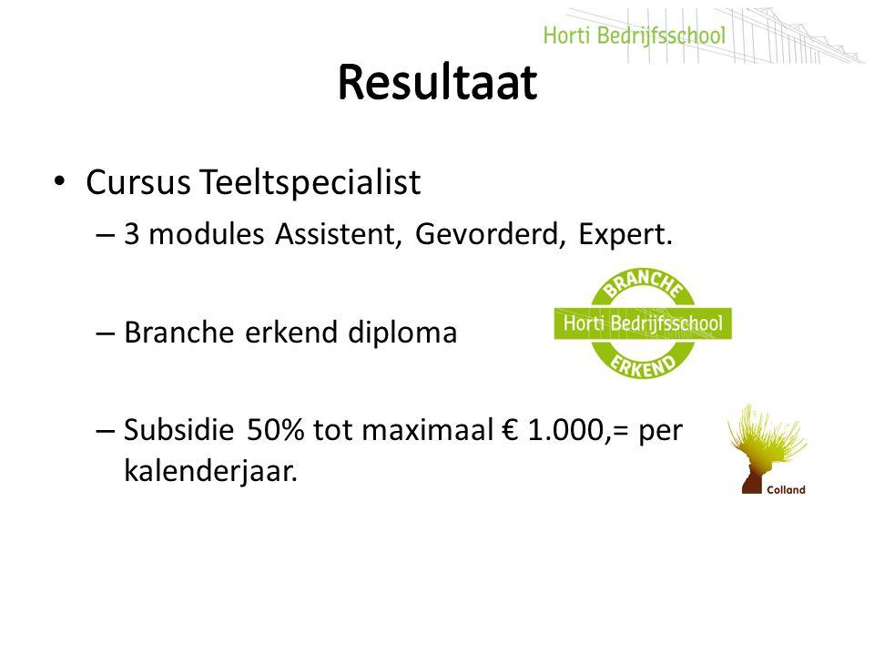 Resultaat Resultaat Cursus Teeltspecialist