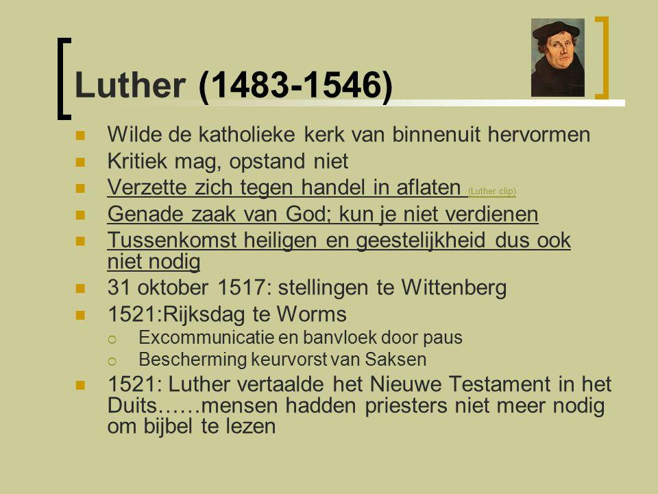Luther (1483-1546) Wilde de katholieke kerk van binnenuit hervormen
