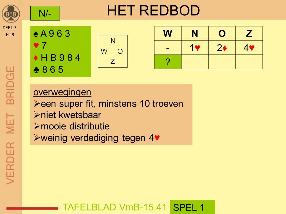 HET REDBOD N/- ♠ A 9 6 3 ♥ 7 ♦ H B 9 8 4 ♣ 8 6 5 W N O Z - 1♥ 2♦ 4♥
