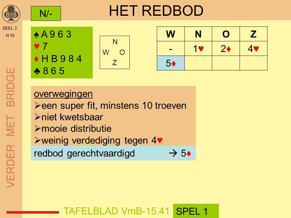 HET REDBOD N/- ♠ A 9 6 3 ♥ 7 ♦ H B 9 8 4 ♣ 8 6 5 W N O Z - 1♥ 2♦ 4♥ 5♦