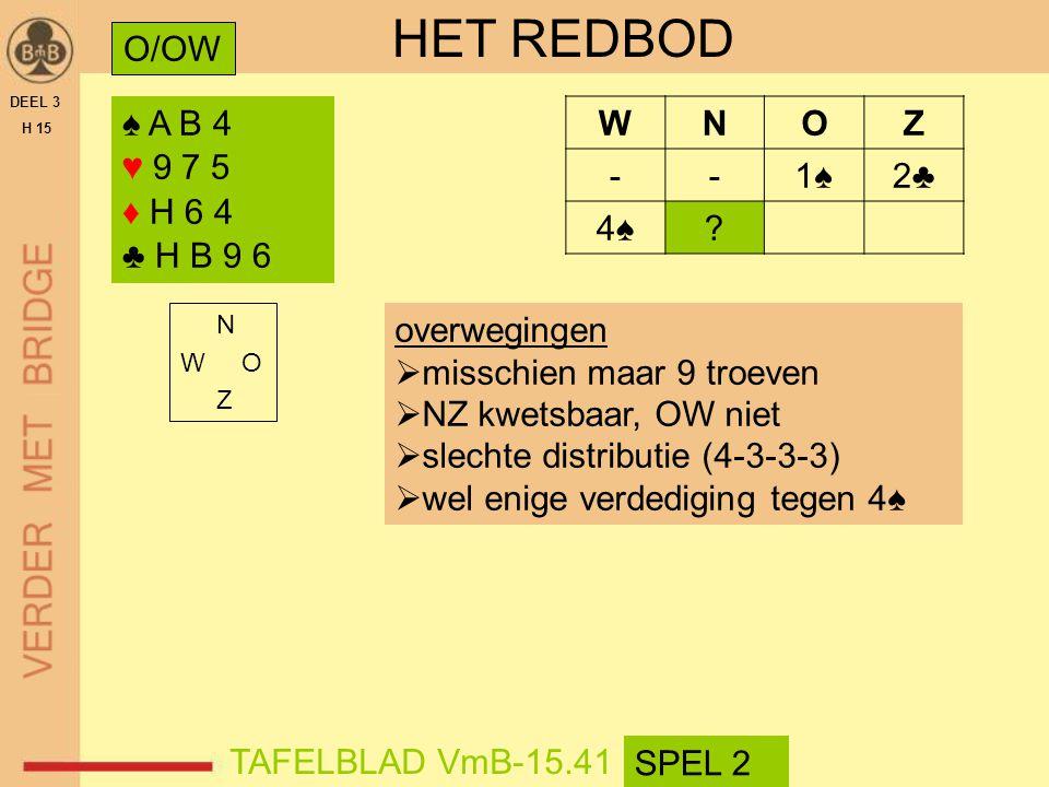 HET REDBOD O/OW ♠ A B 4 ♥ 9 7 5 ♦ H 6 4 ♣ H B 9 6 W N O Z - 1♠ 2♣ 4♠