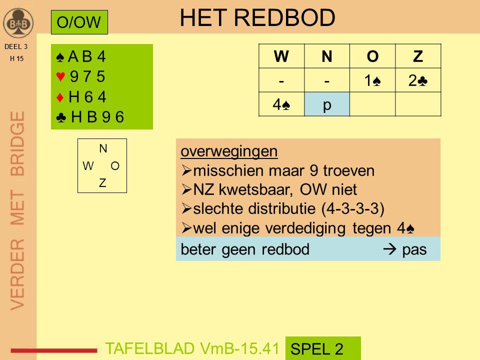 HET REDBOD O/OW ♠ A B 4 ♥ 9 7 5 ♦ H 6 4 ♣ H B 9 6 W N O Z - 1♠ 2♣ 4♠ p