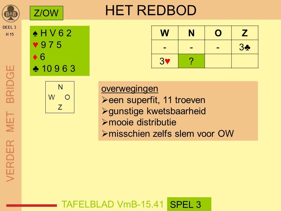HET REDBOD Z/OW ♠ H V 6 2 ♥ 9 7 5 ♦ 6 ♣ 10 9 6 3 W N O Z - 3♣ 3♥