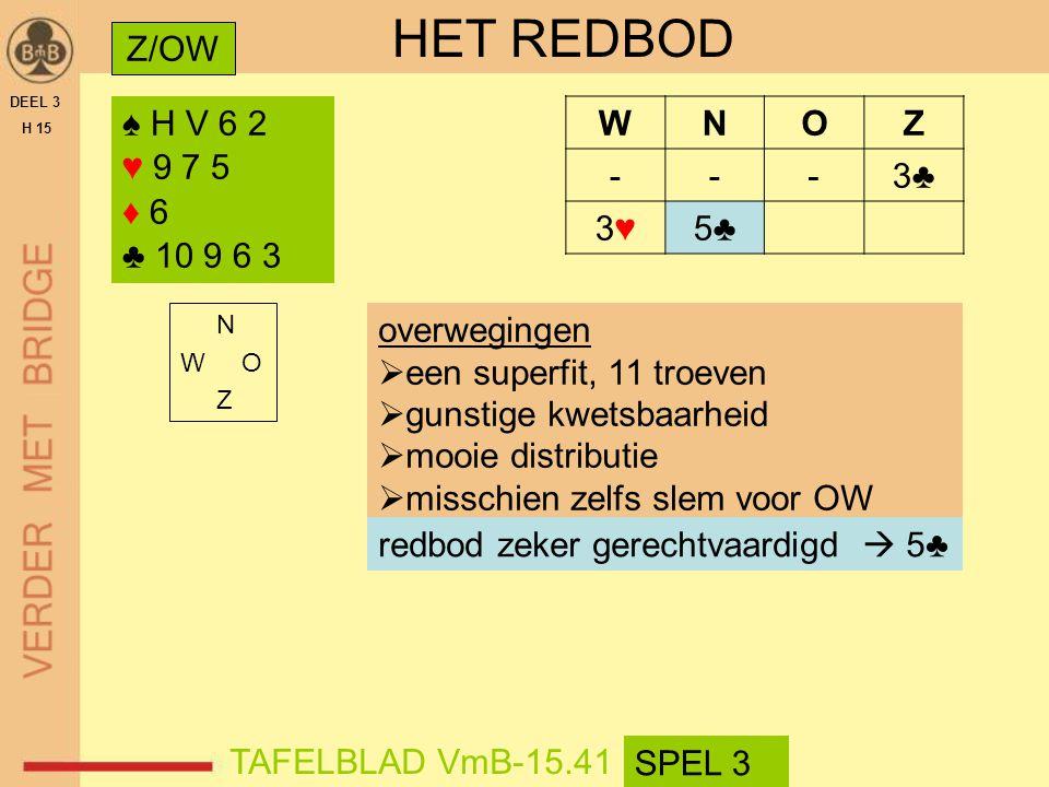 HET REDBOD Z/OW ♠ H V 6 2 ♥ 9 7 5 ♦ 6 ♣ 10 9 6 3 W N O Z - 3♣ 3♥ 5♣