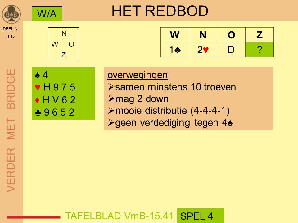 HET REDBOD W/A W N O Z 1♣ 2♥ D ♠ 4 ♥ H 9 7 5 ♦ H V 6 2 ♣ 9 6 5 2