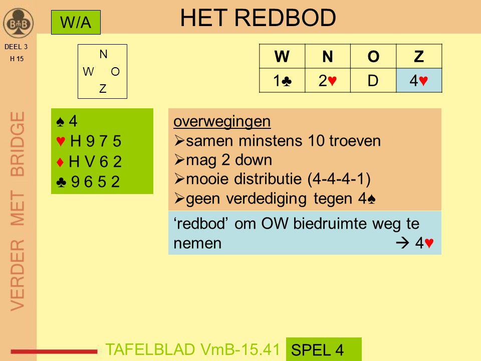 HET REDBOD W/A W N O Z 1♣ 2♥ D 4♥ ♠ 4 ♥ H 9 7 5 ♦ H V 6 2 ♣ 9 6 5 2