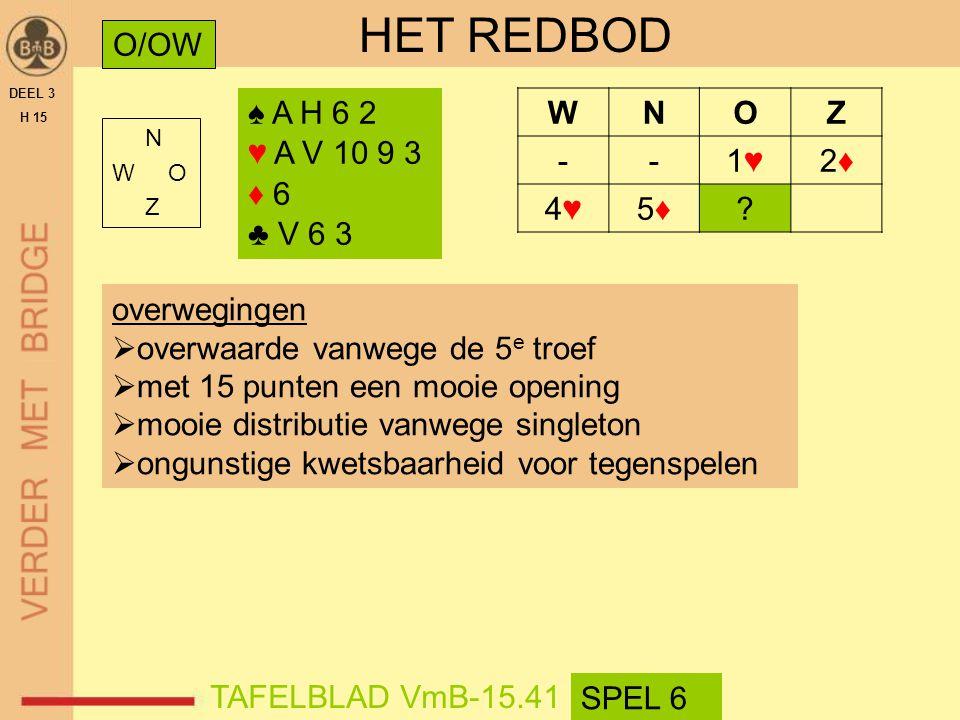 HET REDBOD O/OW ♠ A H 6 2 ♥ A V 10 9 3 ♦ 6 ♣ V 6 3 W N O Z - 1♥ 2♦ 4♥