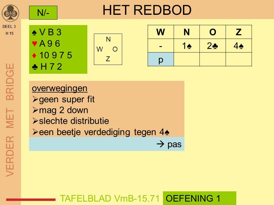 HET REDBOD N/- ♠ V B 3 ♥ A 9 6 ♦ 10 9 7 5 ♣ H 7 2 W N O Z - 1♠ 2♣ 4♠ p
