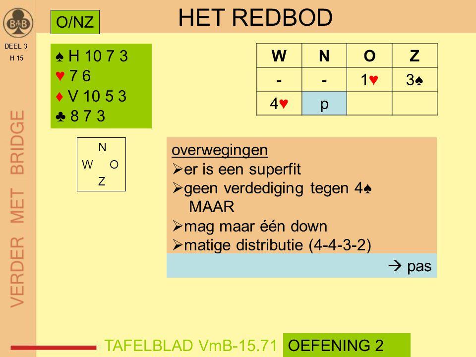 HET REDBOD O/NZ ♠ H 10 7 3 ♥ 7 6 ♦ V 10 5 3 ♣ 8 7 3 W N O Z - 1♥ 3♠ 4♥