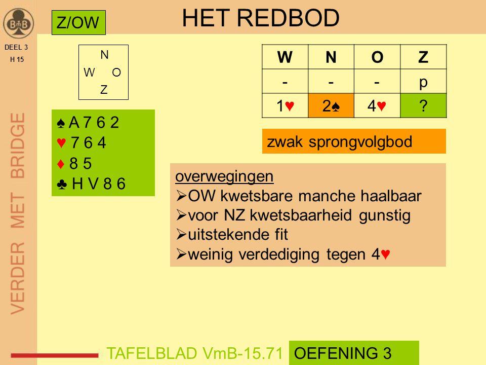 HET REDBOD Z/OW W N O Z - p 1♥ 2♠ 4♥ ♠ A 7 6 2 ♥ 7 6 4 ♦ 8 5