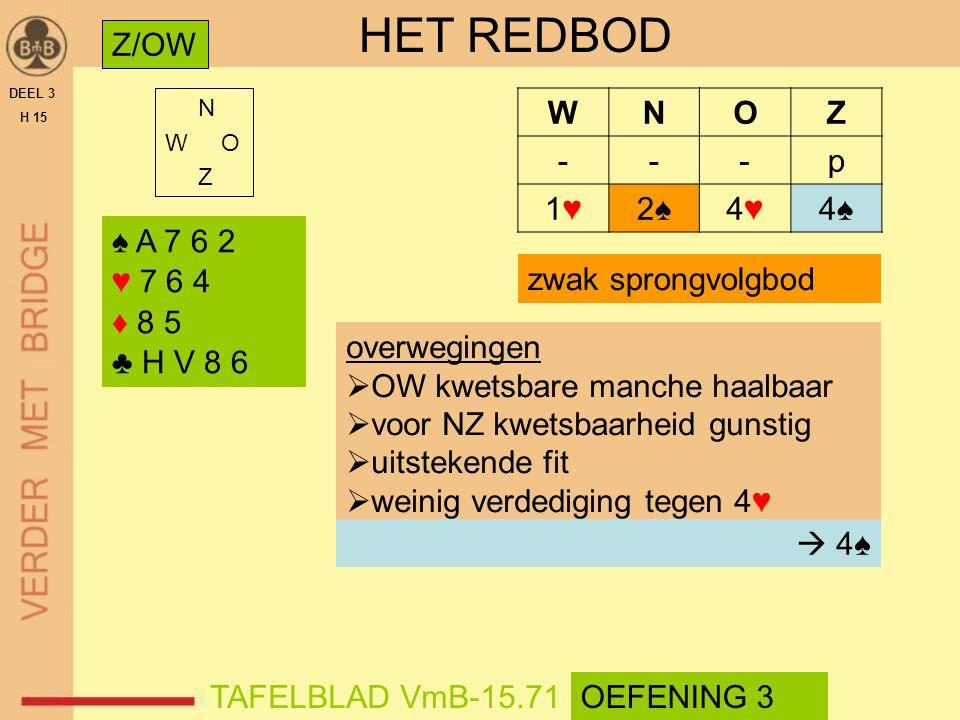 HET REDBOD Z/OW W N O Z - p 1♥ 2♠ 4♥ 4♠ ♠ A 7 6 2 ♥ 7 6 4 ♦ 8 5