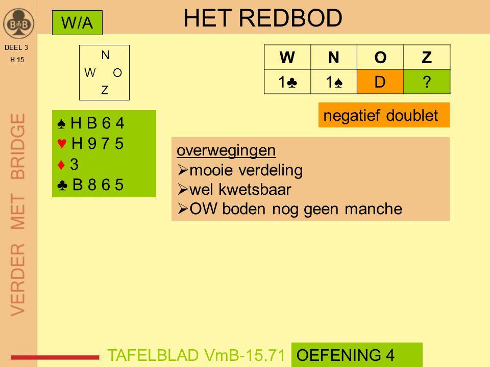 HET REDBOD W/A W N O Z 1♣ 1♠ D negatief doublet ♠ H B 6 4 ♥ H 9 7 5