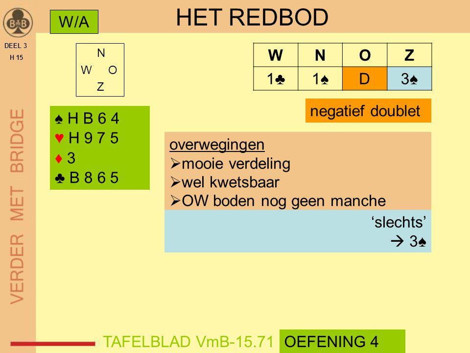 HET REDBOD W/A W N O Z 1♣ 1♠ D 3♠ negatief doublet ♠ H B 6 4 ♥ H 9 7 5