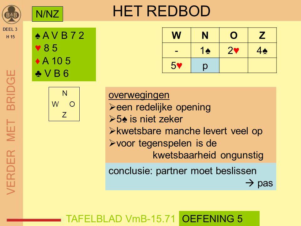 HET REDBOD N/NZ ♠ A V B 7 2 ♥ 8 5 ♦ A 10 5 ♣ V B 6 W N O Z - 1♠ 2♥ 4♠