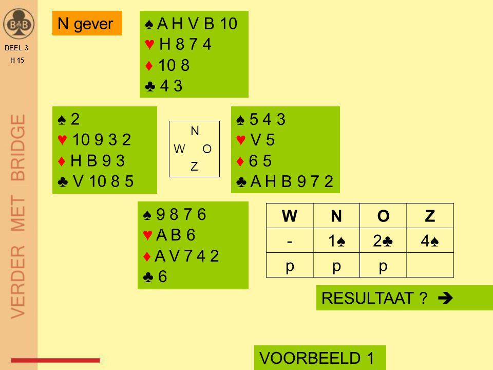 N gever ♠ A H V B 10 ♥ H 8 7 4 ♦ 10 8 ♣ 4 3 ♠ 2 ♥ 10 9 3 2 ♦ H B 9 3