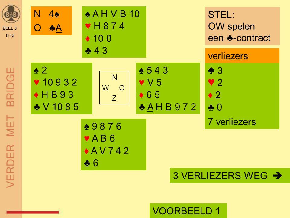 N 4♠ O ♣A ♠ A H V B 10 ♥ H 8 7 4 ♦ 10 8 ♣ 4 3 STEL: OW spelen