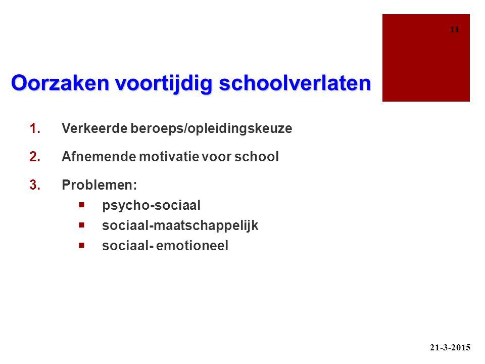 Oorzaken voortijdig schoolverlaten
