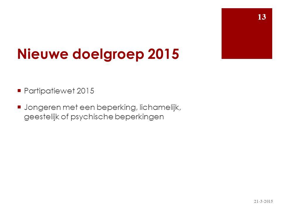 Nieuwe doelgroep 2015 Partipatiewet 2015