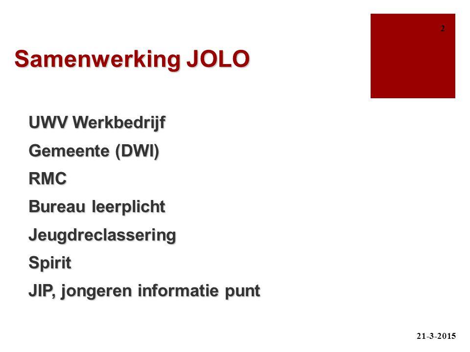 Samenwerking JOLO UWV Werkbedrijf Gemeente (DWI) RMC Bureau leerplicht Jeugdreclassering Spirit JIP, jongeren informatie punt