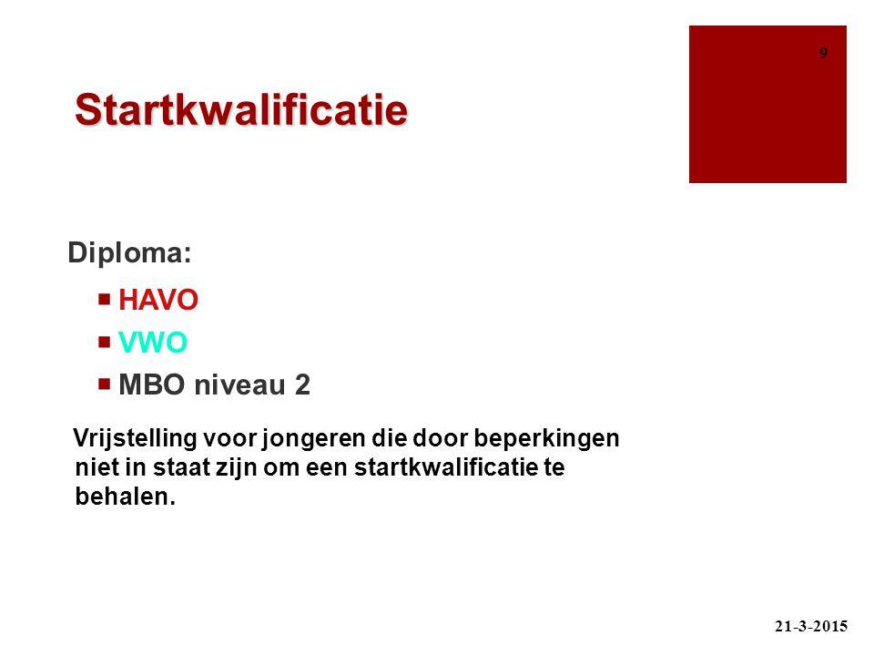 Diploma: Startkwalificatie HAVO VWO MBO niveau 2