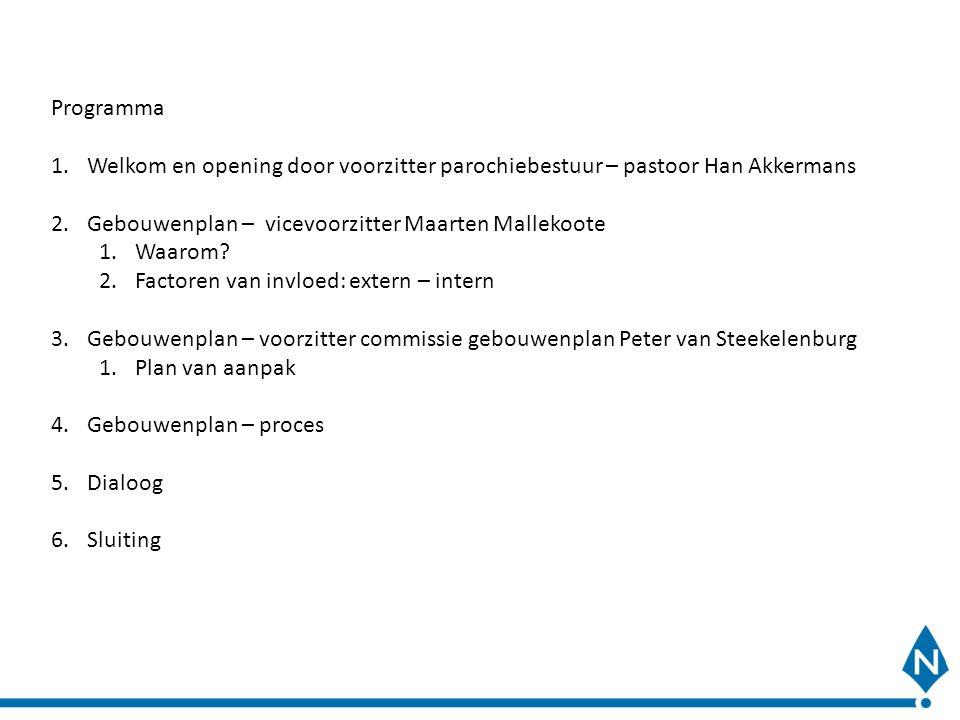 Programma Welkom en opening door voorzitter parochiebestuur – pastoor Han Akkermans. Gebouwenplan – vicevoorzitter Maarten Mallekoote.