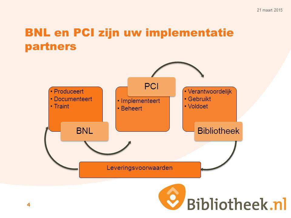 BNL en PCI zijn uw implementatie partners