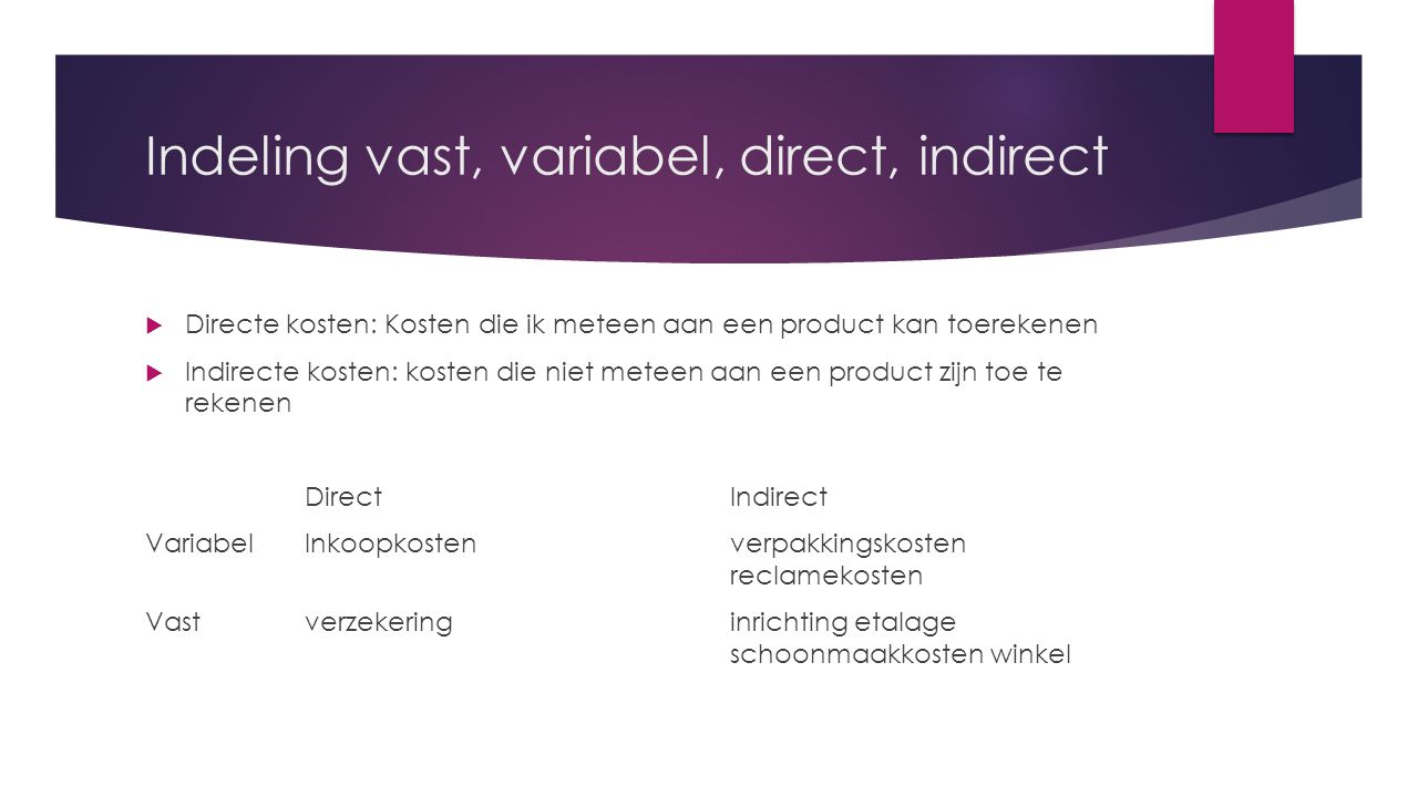 Indeling vast, variabel, direct, indirect