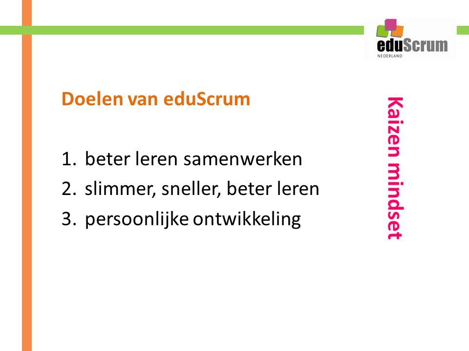 Kaizen mindset Doelen van eduScrum beter leren samenwerken