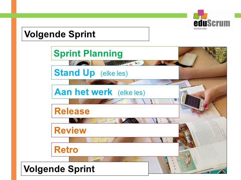 Volgende Sprint Sprint Planning. Stand Up (elke les) Aan het werk (elke les) Release. Review.