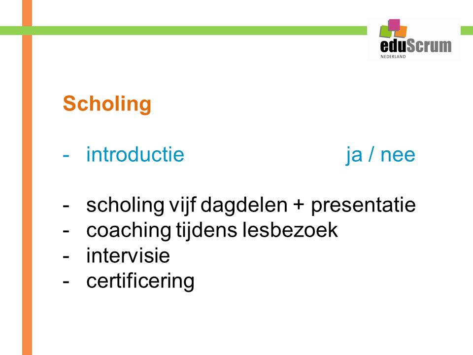 Scholing introductie ja / nee. scholing vijf dagdelen + presentatie. coaching tijdens lesbezoek.
