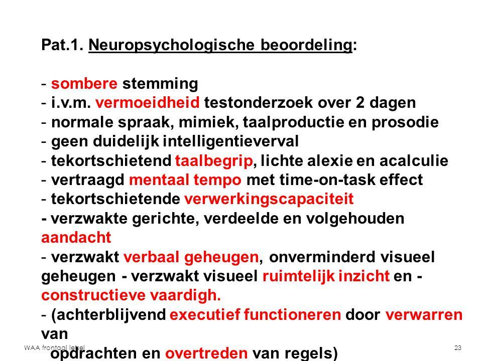 Pat.1. Neuropsychologische beoordeling: sombere stemming