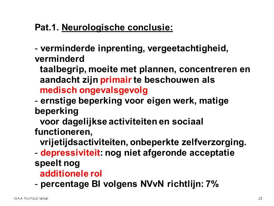 Pat.1. Neurologische conclusie:
