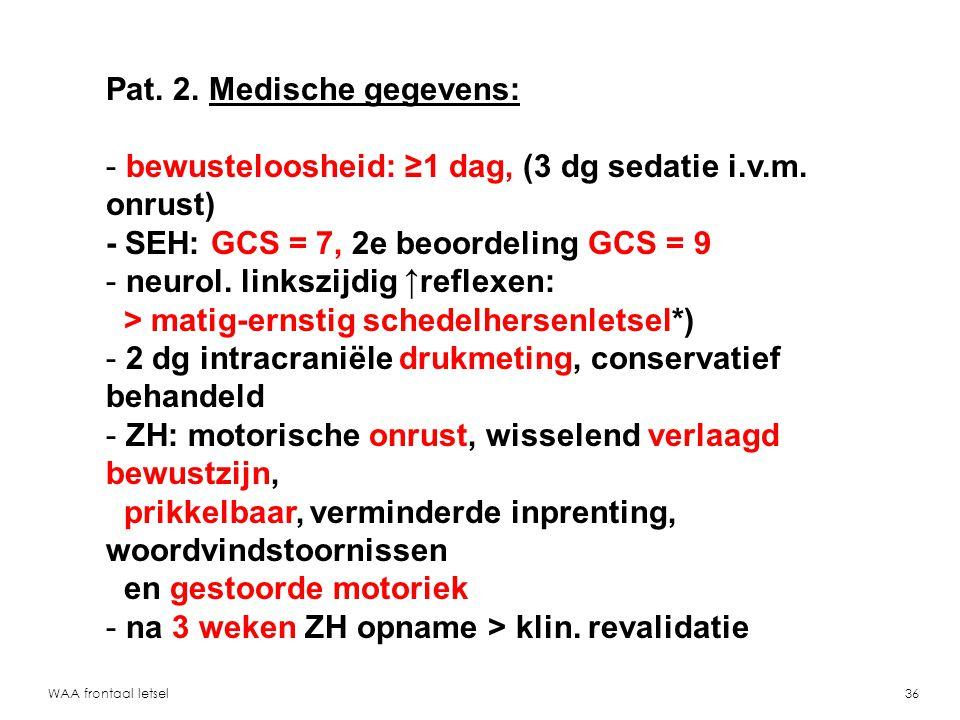 Pat. 2. Medische gegevens: