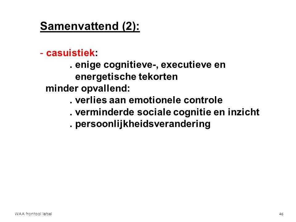 Samenvattend (2): casuistiek: . enige cognitieve-, executieve en