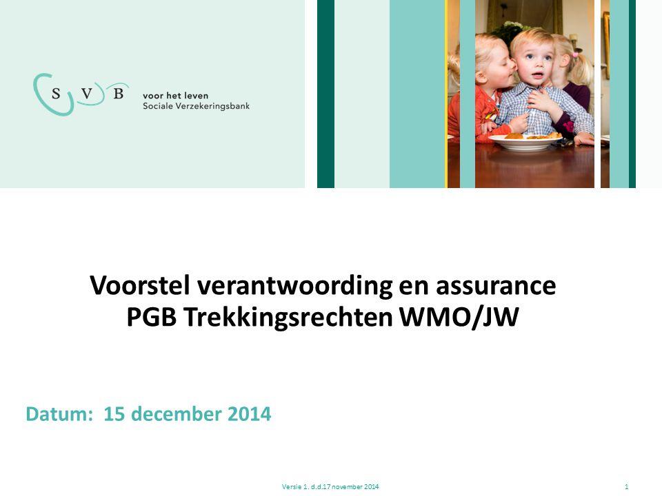 Voorstel verantwoording en assurance PGB Trekkingsrechten WMO/JW