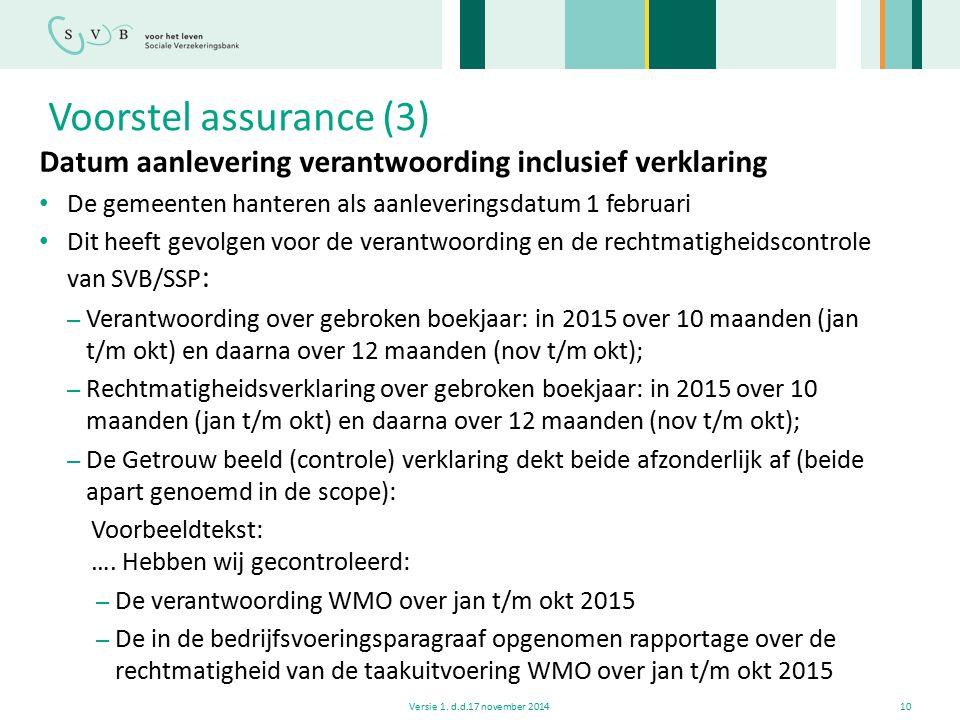 Voorstel assurance (3) Datum aanlevering verantwoording inclusief verklaring. De gemeenten hanteren als aanleveringsdatum 1 februari.
