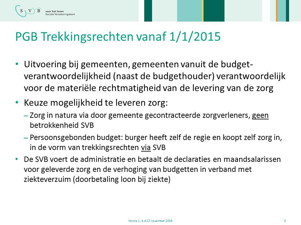PGB Trekkingsrechten vanaf 1/1/2015
