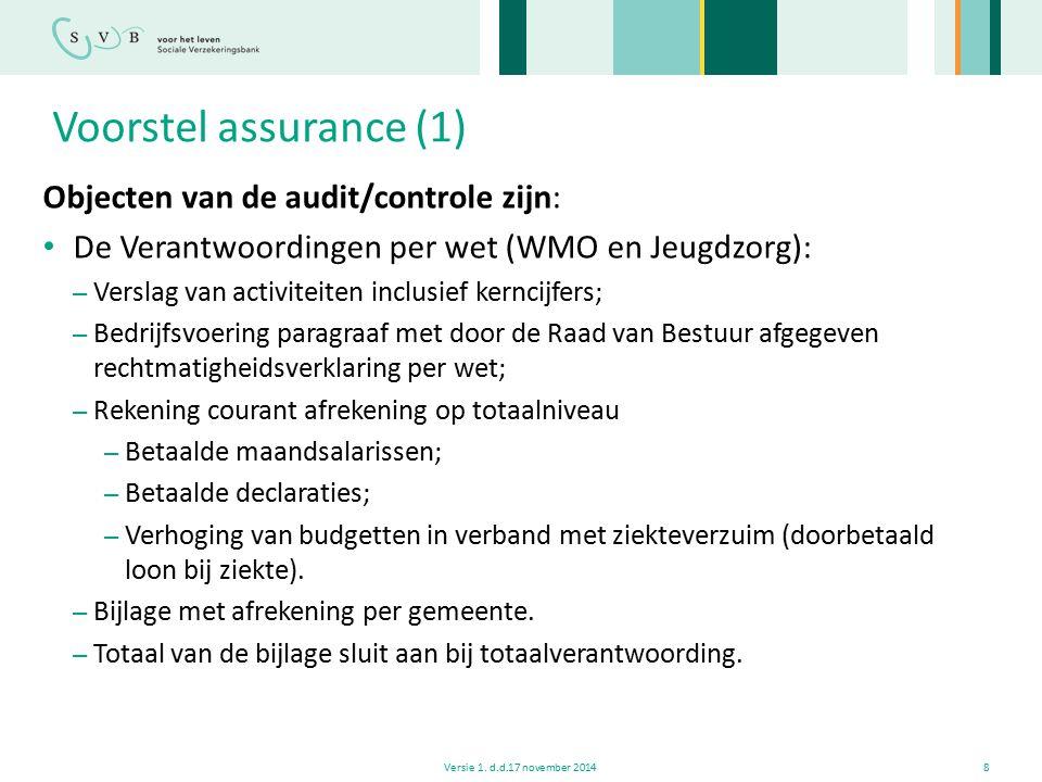 Voorstel assurance (1) Objecten van de audit/controle zijn: