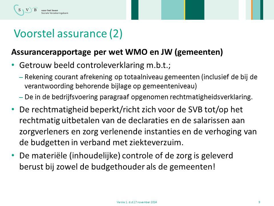 Voorstel assurance (2) Assurancerapportage per wet WMO en JW (gemeenten) Getrouw beeld controleverklaring m.b.t.;