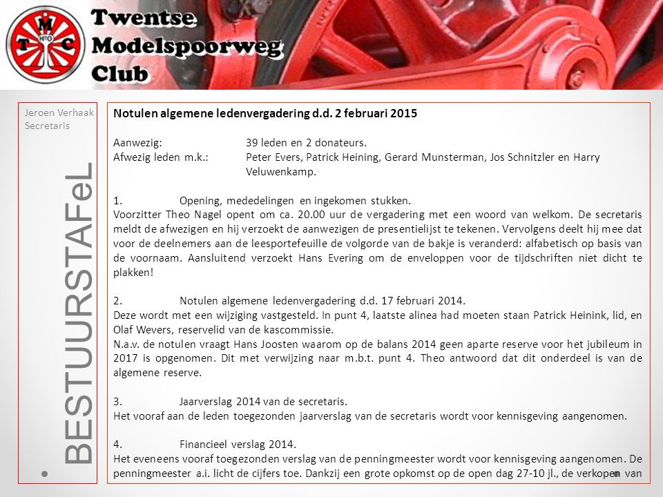 BESTUURSTAFeL Notulen algemene ledenvergadering d.d. 2 februari 2015