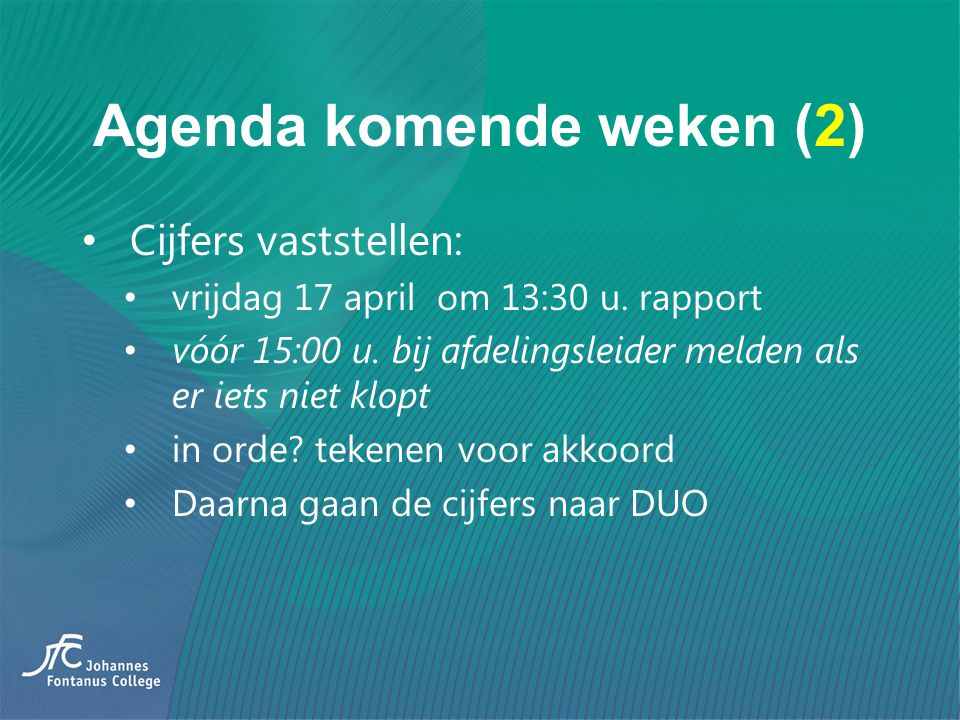 Agenda komende weken (2)