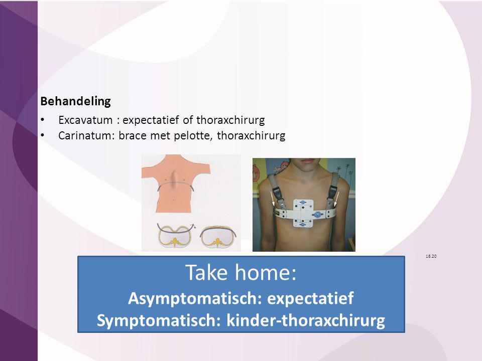 Asymptomatisch: expectatief Symptomatisch: kinder-thoraxchirurg