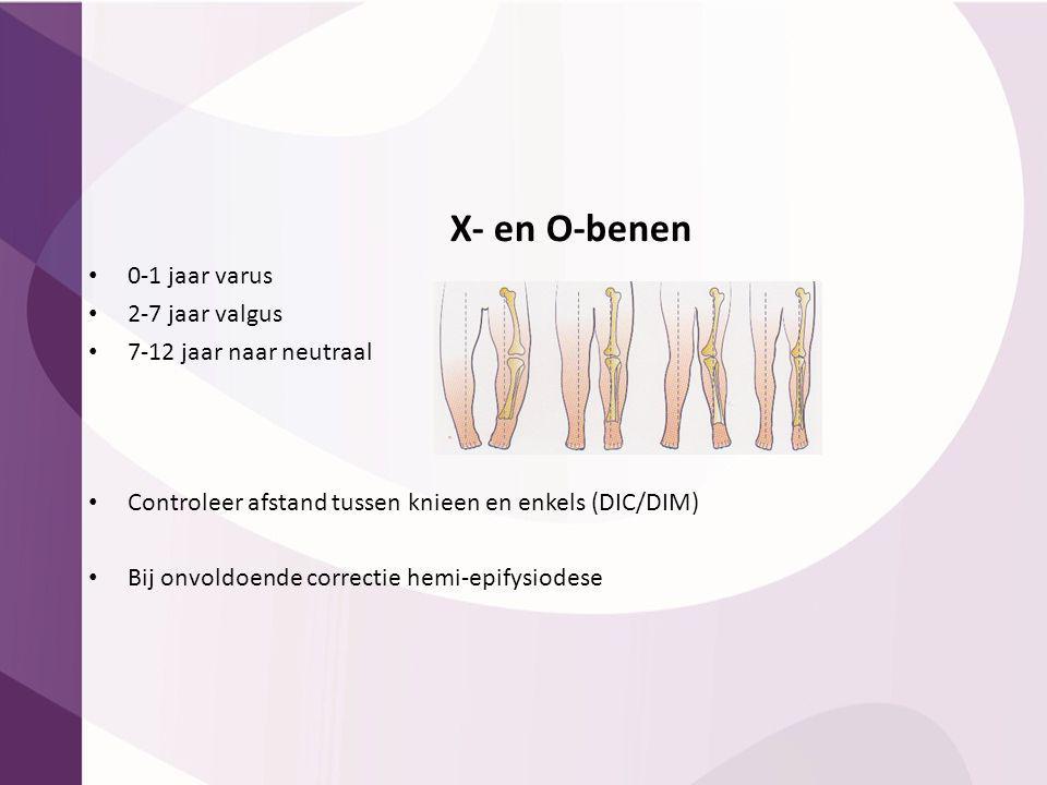 X- en O-benen 0-1 jaar varus 2-7 jaar valgus 7-12 jaar naar neutraal