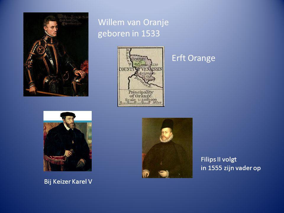 Willem van Oranje geboren in 1533 Erft Orange Filips II volgt